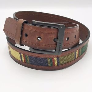 Columbia Striped Canvas and Leather Belt Vtg